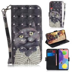 Cat Embrace 3D Painted Leather Wallet Phone Case for Samsung Galaxy A70s