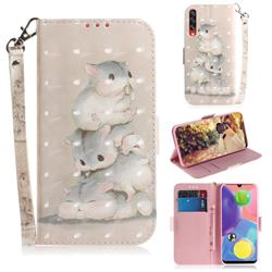 Three Squirrels 3D Painted Leather Wallet Phone Case for Samsung Galaxy A70s