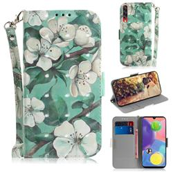 Watercolor Flower 3D Painted Leather Wallet Phone Case for Samsung Galaxy A70s