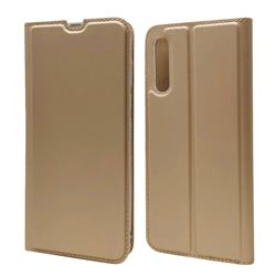 Ultra Slim Card Magnetic Automatic Suction Leather Wallet Case for Samsung Galaxy A70s - Champagne