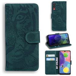 Intricate Embossing Tiger Face Leather Wallet Case for Samsung Galaxy A70s - Green