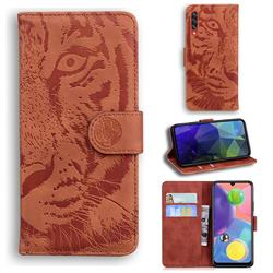 Intricate Embossing Tiger Face Leather Wallet Case for Samsung Galaxy A70s - Brown