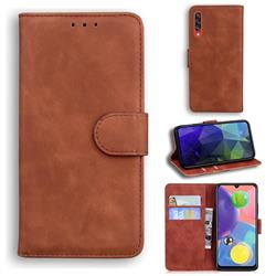 Retro Classic Skin Feel Leather Wallet Phone Case for Samsung Galaxy A70s - Brown