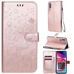 Embossing Bee and Cat Leather Wallet Case for Samsung Galaxy A70s - Rose Gold