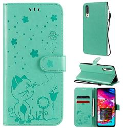 Embossing Bee and Cat Leather Wallet Case for Samsung Galaxy A70s - Green