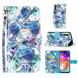 Green and Blue Stitching Color Marble Leather Wallet Case for Samsung Galaxy A70s