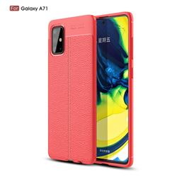 Luxury Auto Focus Litchi Texture Silicone TPU Back Cover for Samsung Galaxy A71 4G - Red