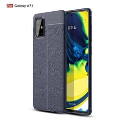 Luxury Auto Focus Litchi Texture Silicone TPU Back Cover for Samsung Galaxy A71 4G - Dark Blue