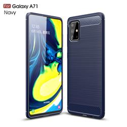 Luxury Carbon Fiber Brushed Wire Drawing Silicone TPU Back Cover for Samsung Galaxy A71 4G - Navy