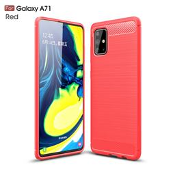 Luxury Carbon Fiber Brushed Wire Drawing Silicone TPU Back Cover for Samsung Galaxy A71 4G - Red