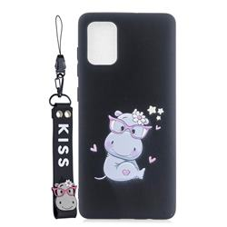 Black Flower Hippo Soft Kiss Candy Hand Strap Silicone Case for Samsung Galaxy A71