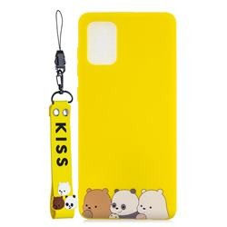 Yellow Bear Family Soft Kiss Candy Hand Strap Silicone Case for Samsung Galaxy A71