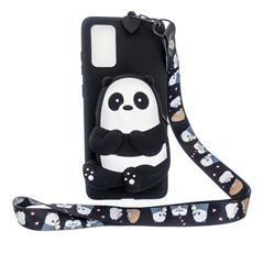 Cute Panda Neck Lanyard Zipper Wallet Silicone Case for Samsung Galaxy A71