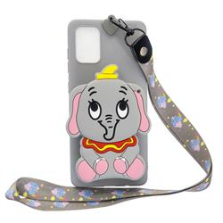 Gray Elephant Neck Lanyard Zipper Wallet Silicone Case for Samsung Galaxy A71