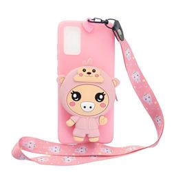 Pink Pig Neck Lanyard Zipper Wallet Silicone Case for Samsung Galaxy A71