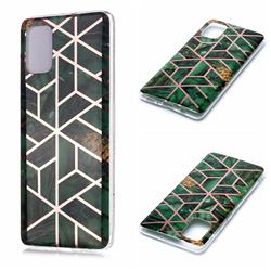 Green Rhombus Galvanized Rose Gold Marble Phone Back Cover for Samsung Galaxy A71 4G