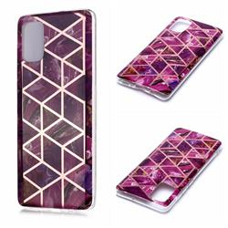 Purple Rhombus Galvanized Rose Gold Marble Phone Back Cover for Samsung Galaxy A71 4G