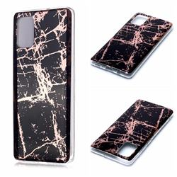 Black Galvanized Rose Gold Marble Phone Back Cover for Samsung Galaxy A71 4G