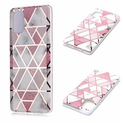 Pink Rhombus Galvanized Rose Gold Marble Phone Back Cover for Samsung Galaxy A71 4G