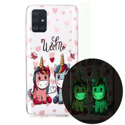Couple Unicorn Noctilucent Soft TPU Back Cover for Samsung Galaxy A71 4G