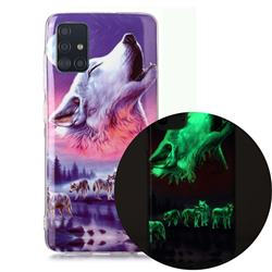 Wolf Howling Noctilucent Soft TPU Back Cover for Samsung Galaxy A71 4G