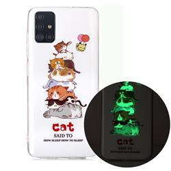 Cute Cat Noctilucent Soft TPU Back Cover for Samsung Galaxy A71