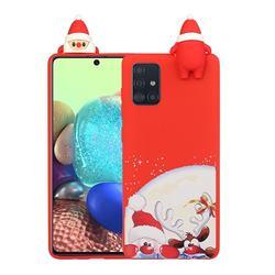 Santa Claus Elk Christmas Xmax Soft 3D Doll Silicone Case for Samsung Galaxy A71 4G