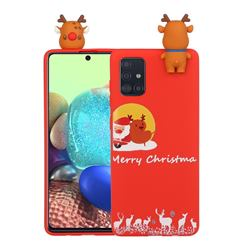 Moon Santa and Elk Christmas Xmax Soft 3D Doll Silicone Case for Samsung Galaxy A71 4G