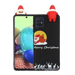 Santa Elk on Moon Christmas Xmax Soft 3D Doll Silicone Case for Samsung Galaxy A71 4G