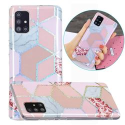 Pink Marble Painted Galvanized Electroplating Soft Phone Case Cover for Samsung Galaxy A71 4G