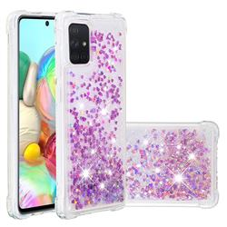 Dynamic Liquid Glitter Sand Quicksand Star TPU Case for Samsung Galaxy A71 4G - Rose