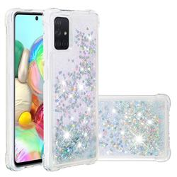 Dynamic Liquid Glitter Sand Quicksand Star TPU Case for Samsung Galaxy A71 4G - Silver