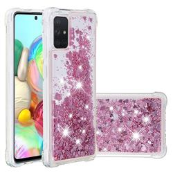 Dynamic Liquid Glitter Sand Quicksand Star TPU Case for Samsung Galaxy A71 4G - Diamond Rose