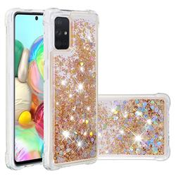 Dynamic Liquid Glitter Sand Quicksand Star TPU Case for Samsung Galaxy A71 4G - Diamond Gold
