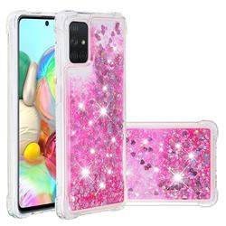 Dynamic Liquid Glitter Sand Quicksand TPU Case for Samsung Galaxy A71 4G - Pink Love Heart