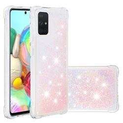 Dynamic Liquid Glitter Sand Quicksand TPU Case for Samsung Galaxy A71 4G - Silver Powder Star