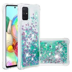 Dynamic Liquid Glitter Sand Quicksand TPU Case for Samsung Galaxy A71 4G - Green Love Heart