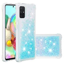 Dynamic Liquid Glitter Sand Quicksand TPU Case for Samsung Galaxy A71 4G - Silver Blue Star