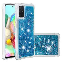 Dynamic Liquid Glitter Sand Quicksand TPU Case for Samsung Galaxy A71 4G - Blue Love Heart