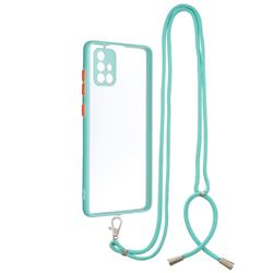 Necklace Cross-body Lanyard Strap Cord Phone Case Cover for Samsung Galaxy A71 4G - Blue