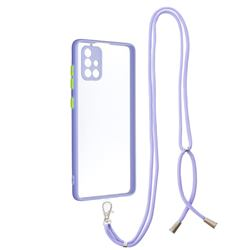 Necklace Cross-body Lanyard Strap Cord Phone Case Cover for Samsung Galaxy A71 4G - Purple