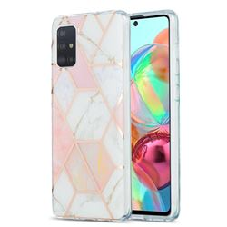 Pink White Marble Pattern Galvanized Electroplating Protective Case Cover for Samsung Galaxy A71 4G