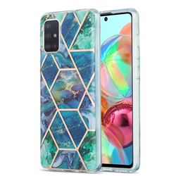 Blue Green Marble Pattern Galvanized Electroplating Protective Case Cover for Samsung Galaxy A71 4G