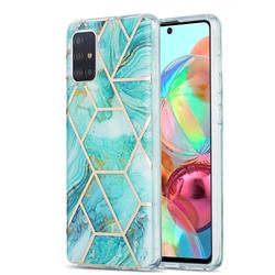 Blue Sea Marble Pattern Galvanized Electroplating Protective Case Cover for Samsung Galaxy A71 4G