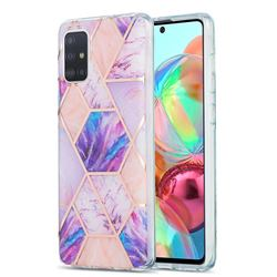 Purple Dream Marble Pattern Galvanized Electroplating Protective Case Cover for Samsung Galaxy A71 4G