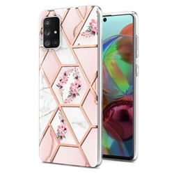 Pink Flower Marble Electroplating Protective Case Cover for Samsung Galaxy A71 4G