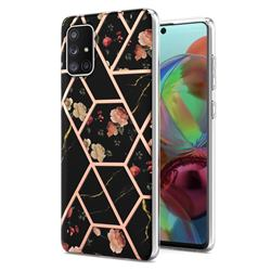 Black Rose Flower Marble Electroplating Protective Case Cover for Samsung Galaxy A71 4G