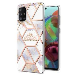 Crown Purple Flower Marble Electroplating Protective Case Cover for Samsung Galaxy A71 4G