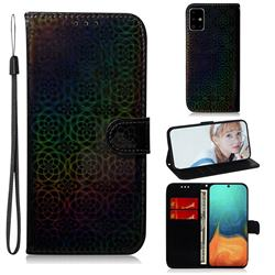Laser Circle Shining Leather Wallet Phone Case for Samsung Galaxy A71 4G - Black