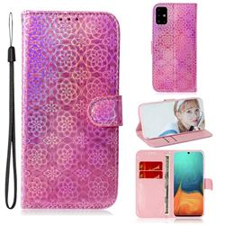 Laser Circle Shining Leather Wallet Phone Case for Samsung Galaxy A71 4G - Pink